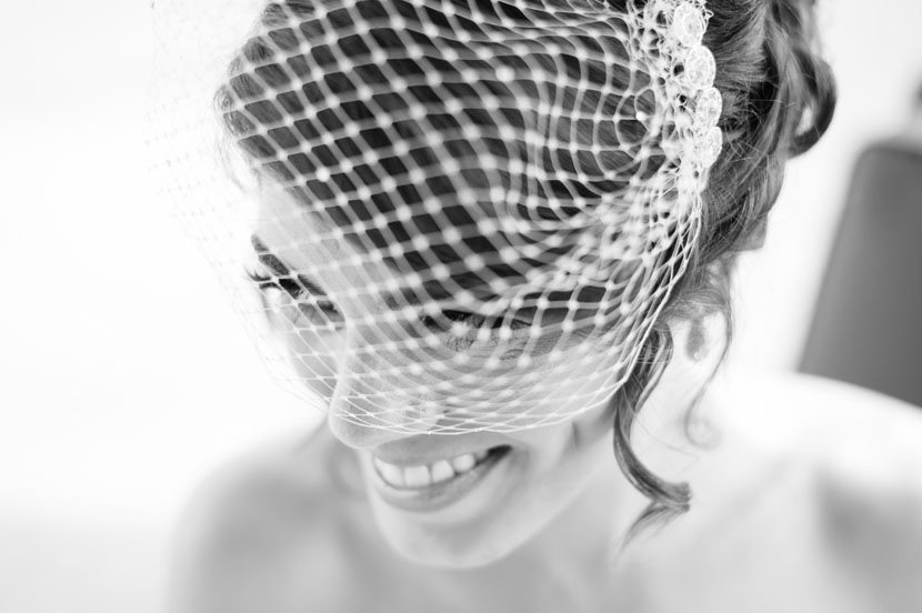 bridal session with birdcage veil