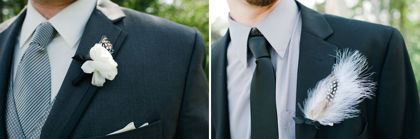 groomsmen wearing feather boutonnieres