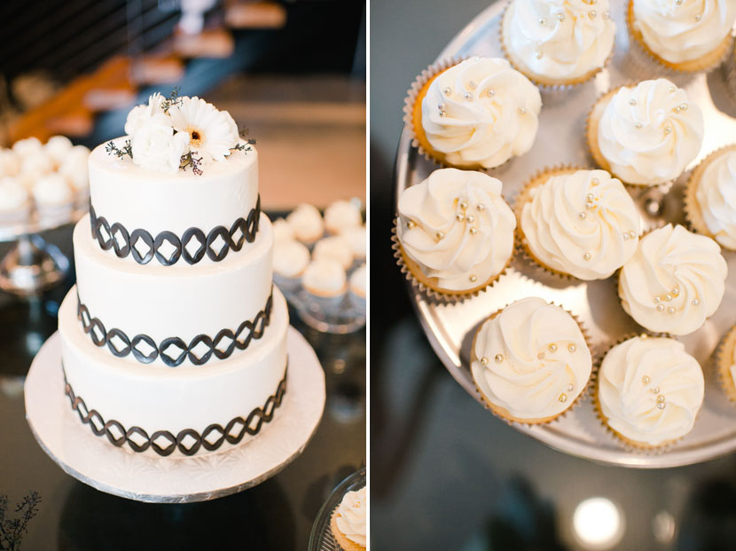 wedding cake with geometric designs white cupcakes