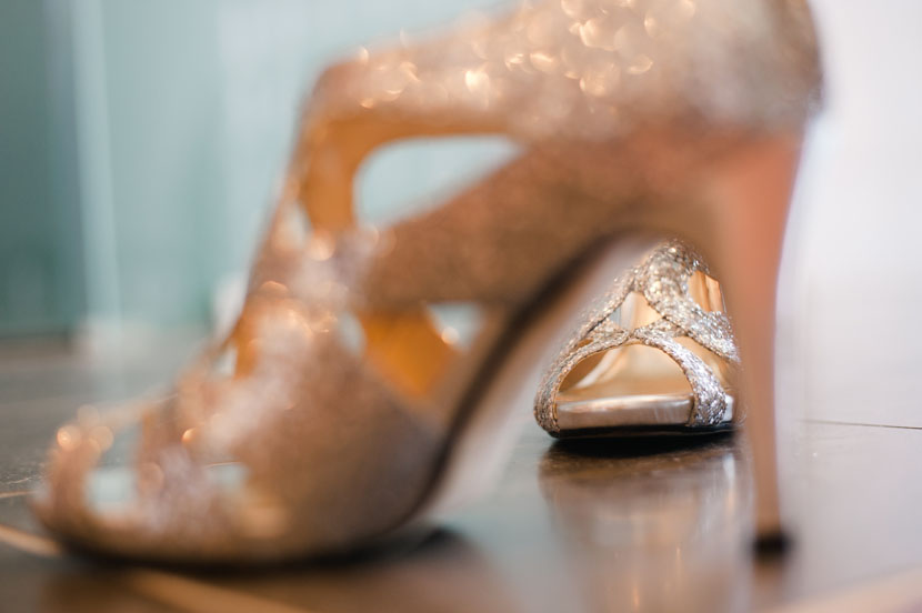 glittery wedding shoes bride