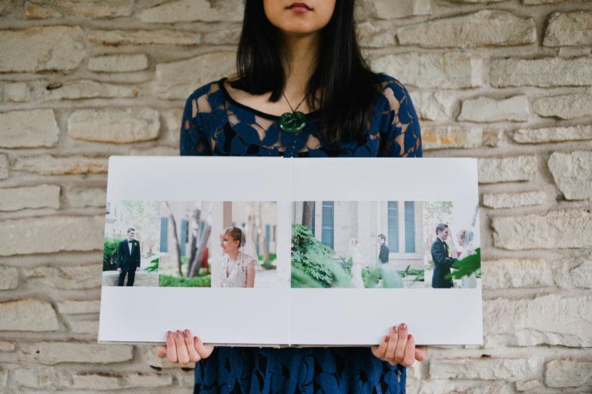 first look spread in wedding album