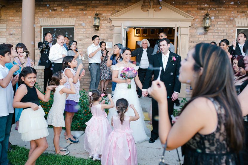 bubble exit at austin wedding daytime