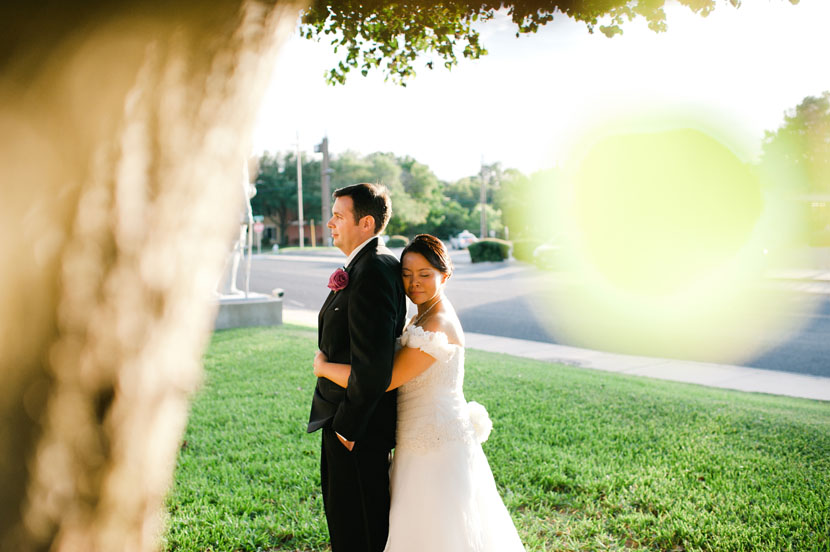 outdoor wedding portrait with bride and groom