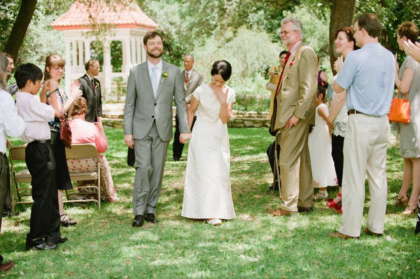 couple just married at zilker botanical gardens austin texas