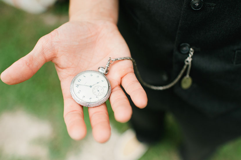 groom wears grandfather's pocketwatch