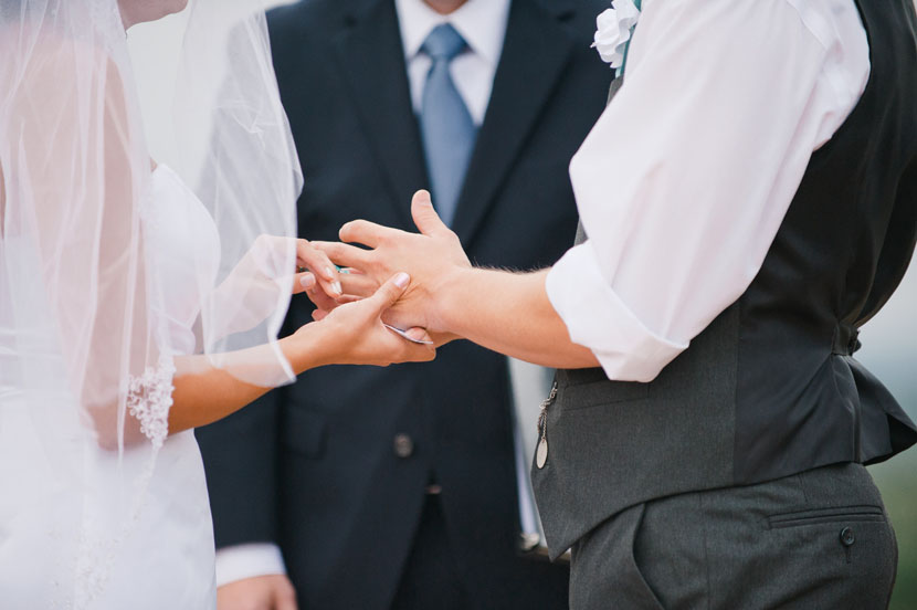 exchanging the rings during a wedding ceremony