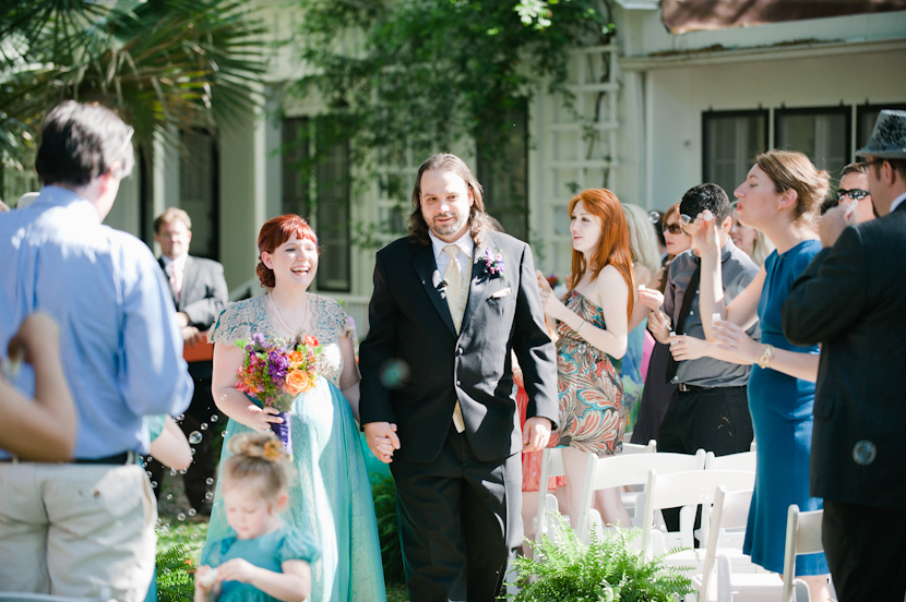 bubbles blown during wedding recessional