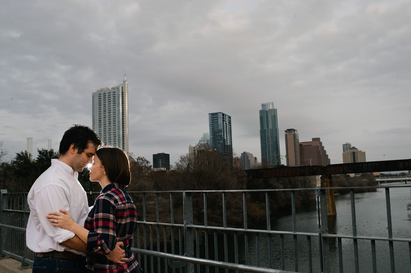 austin skyline engagement shot