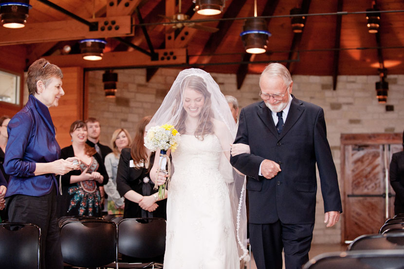bride walked down the aisle by father at lutherhill ministries