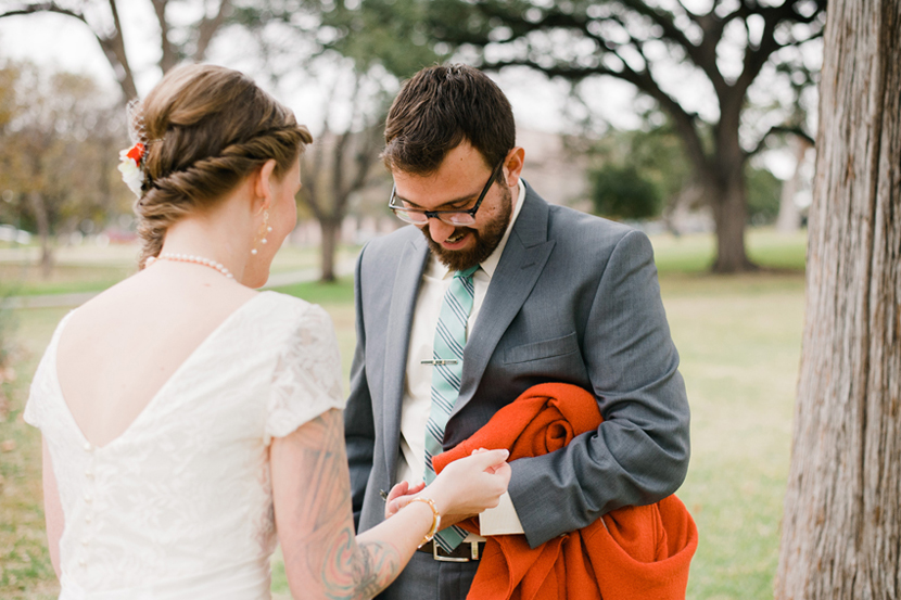 wedding first look at austin capitol grounds