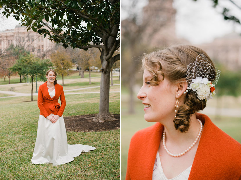 bride wears a bright orange jacket over her wedding dress