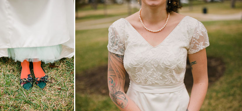 bride wears a dress made with mothers lace
