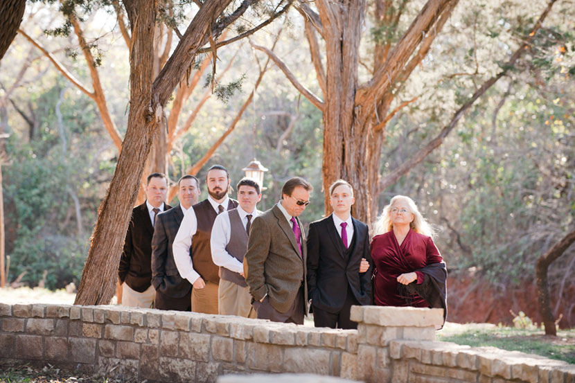 groomsmen line up for wedding