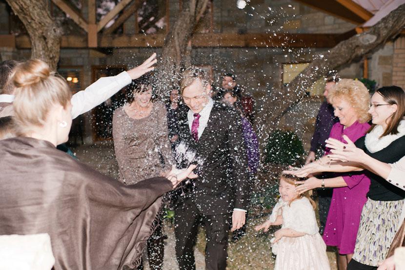 fake eco snow for winter wedding exit