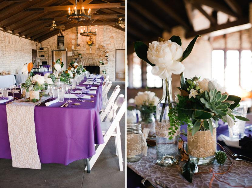 purple table decorations wedding