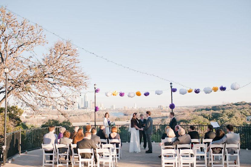 austin wedding ceremony with austin downtown skyline