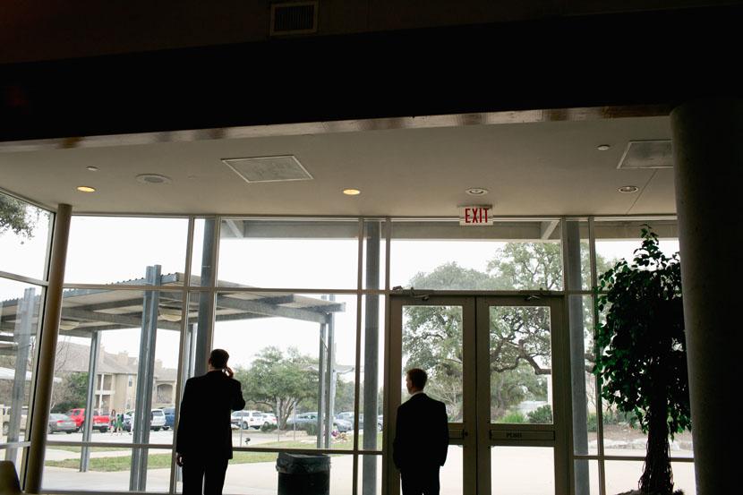 groom in church lobby