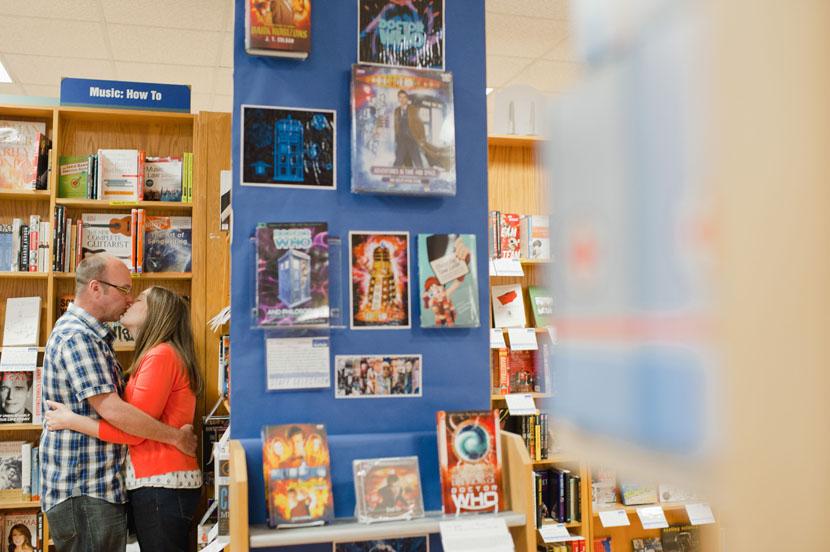 austin bookstore engagement session