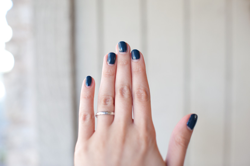 muted blue nail polish