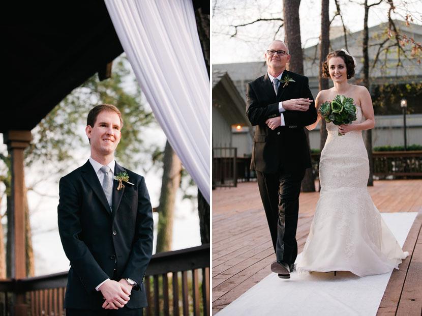 bride walks down aisle groom waits