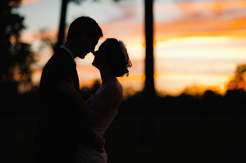 sunset portrait bride groom woodlands