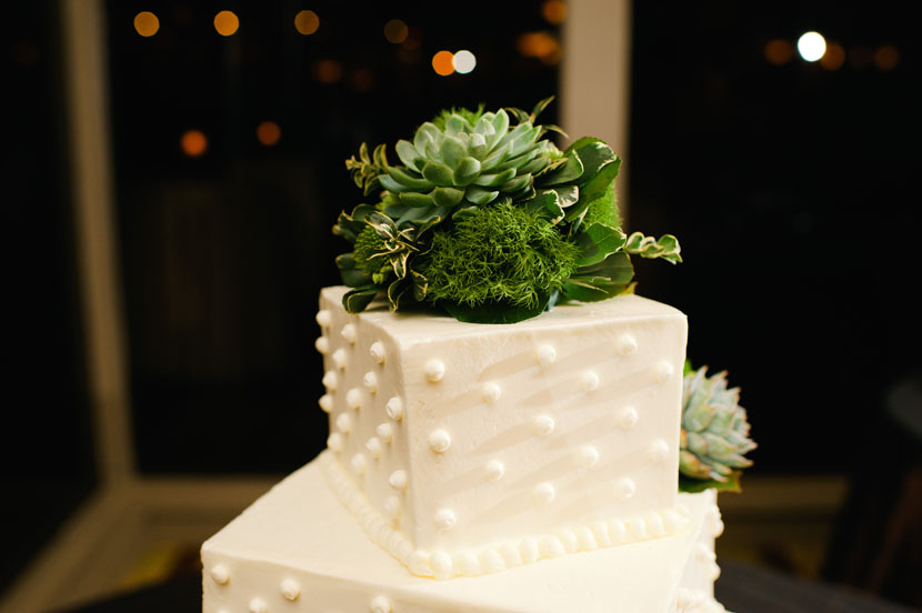 polka dotted wedding cake