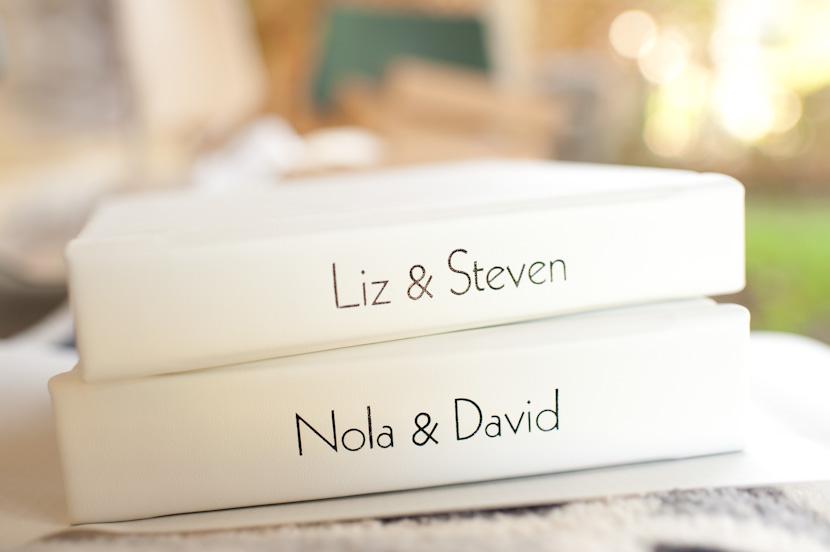 white leather wedding album