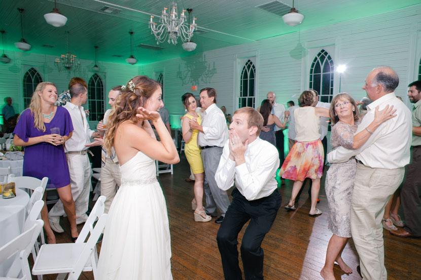 having fun at wedding reception