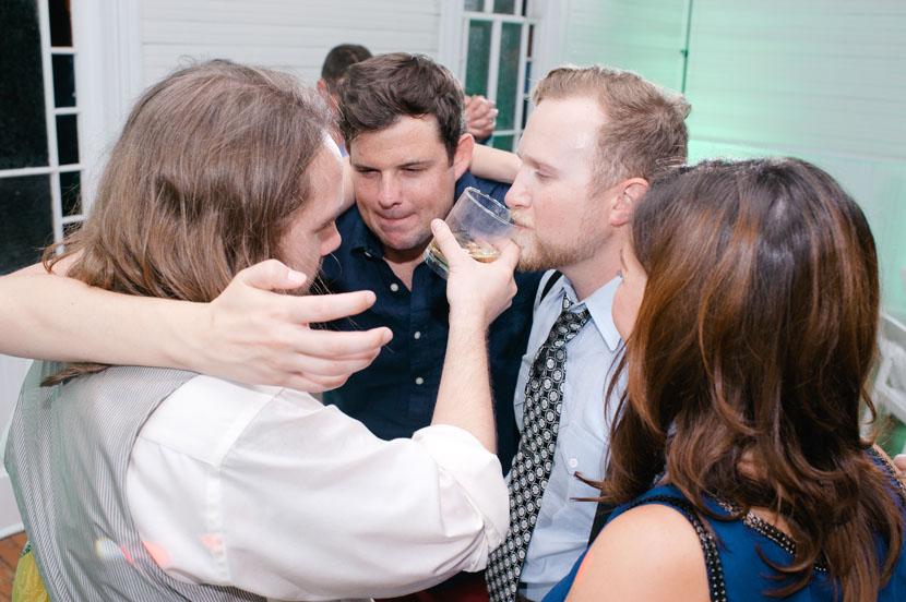 drinking at wedding reception