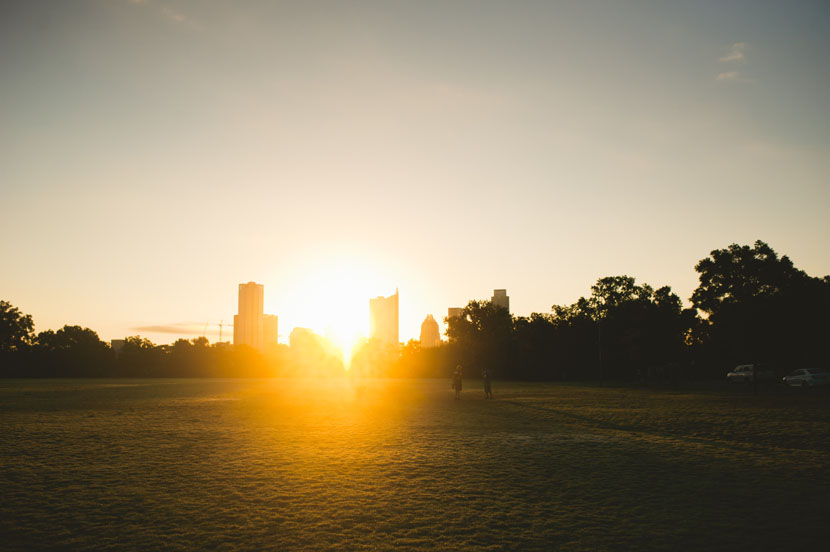 sunrise over zilker park