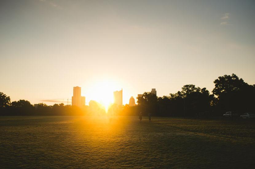 sunrise over zilker park