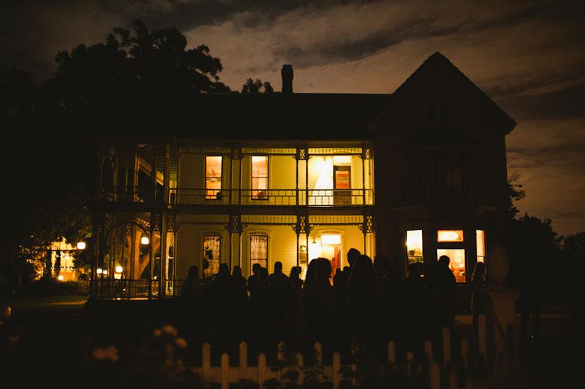 barr mansion exterior at night