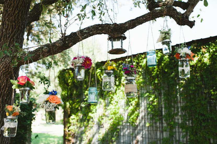 hanging flowers in mason jars