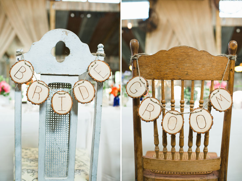 twee bride and groom signs for chairs