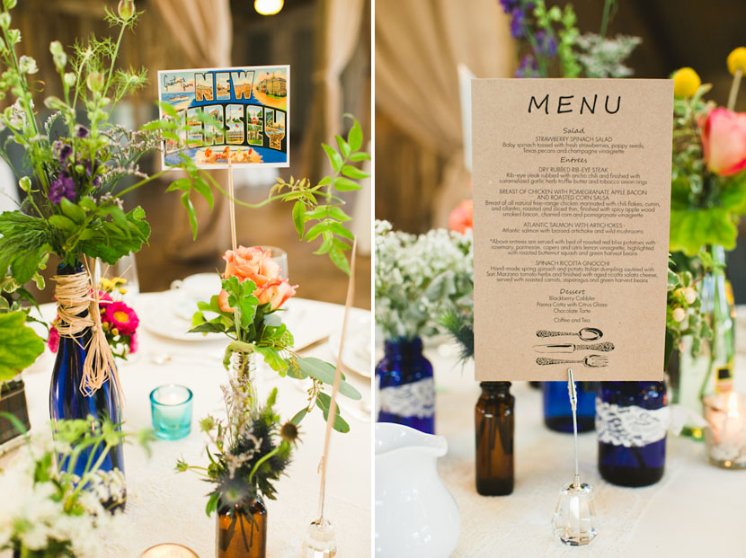 postcards on wedding tablescape