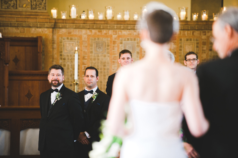 Groom's reaction as he sees his bride walk down the aisle // Elissa R Photography