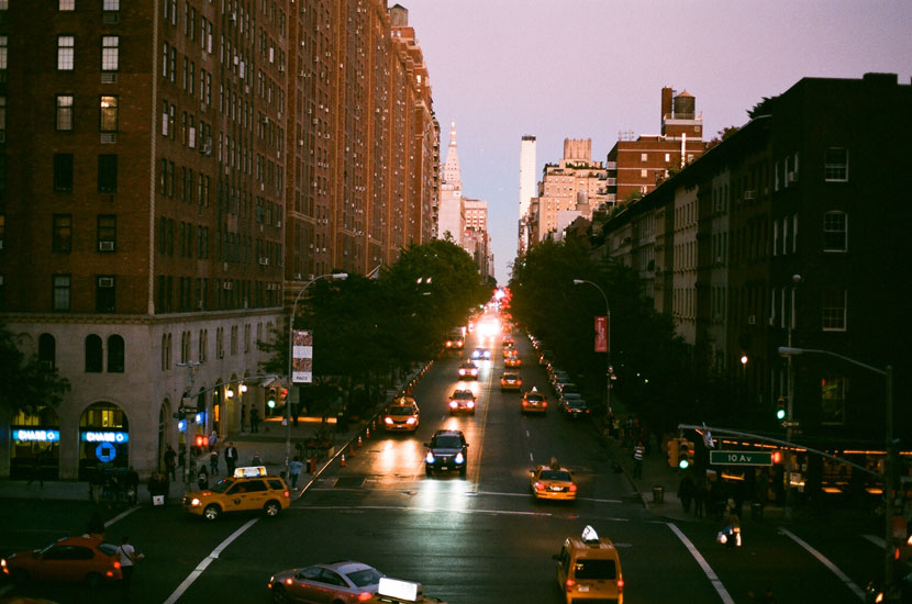 new york in the evening on film