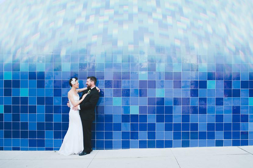 Downtown Austin blue wall // Elissa R Photography