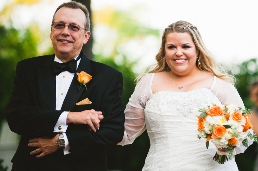 Bride walking down the aisle on her fathers arm // Elissa R Photography