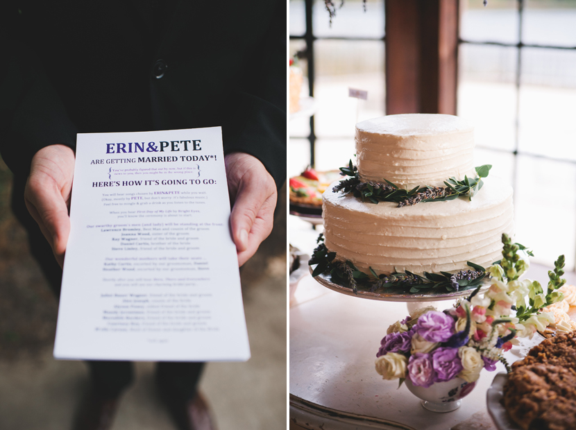 Stylishly designed programs and cake // Elissa R Photography