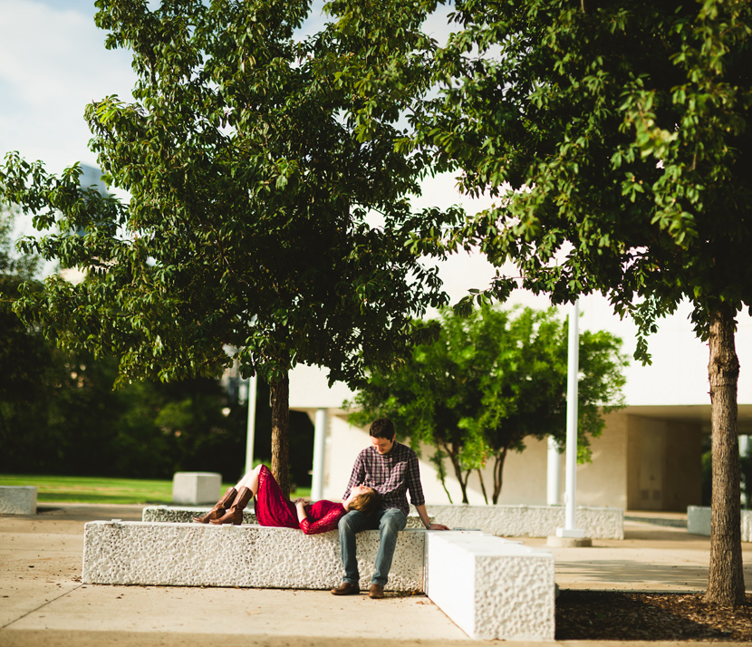 Cowboy boots and plum colored dress engagement session // Elissa R Photography
