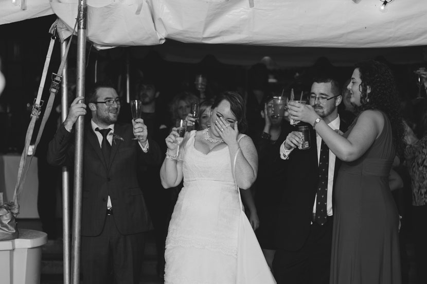 Bride crying during wedding toasts // Elissa R Photography