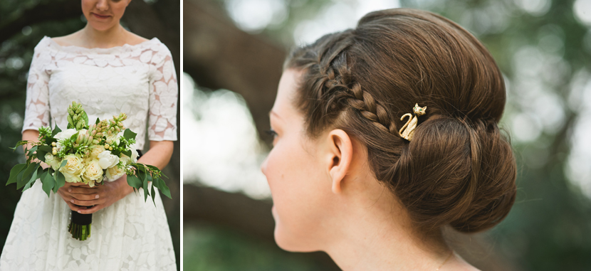 Cat hair pin on bride // Elissa R Photography