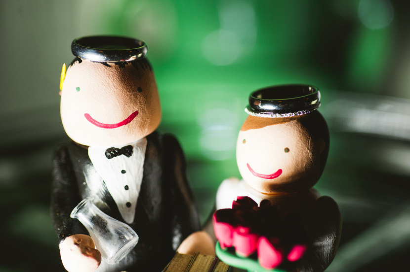Handmade cake topper with rings // Elissa R Photography