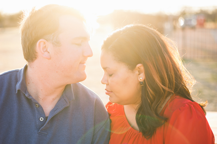 using flare sunlight during an engagement session