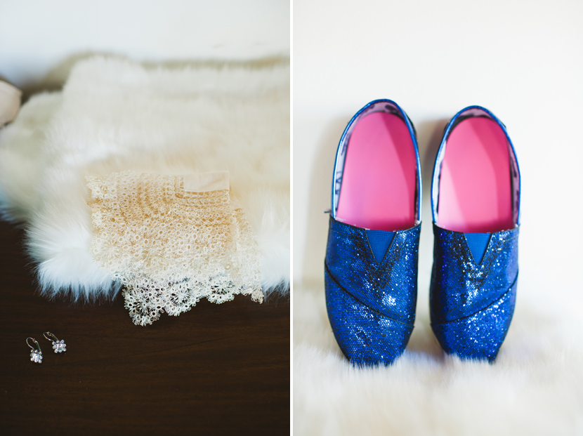 Blue sequin Toms for wedding shoes