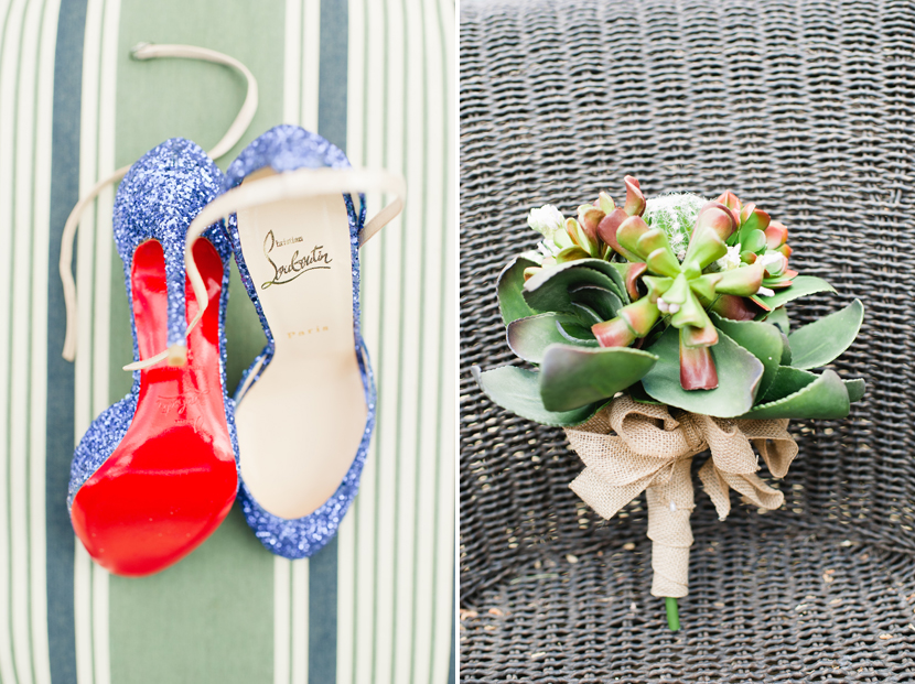 sparkly blue Louboutin heels for wedding shoes