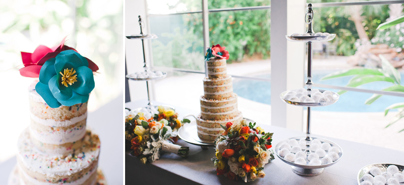 funfetti wedding cake and Mexican wedding cookies