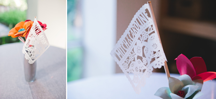 Mexican paper flags as wedding decor