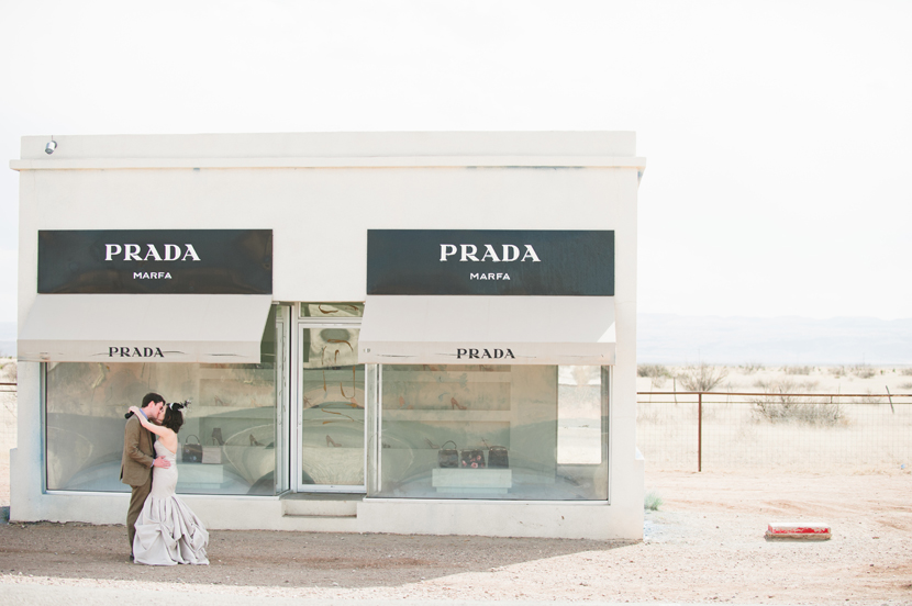 Prada Marfa wedding couple